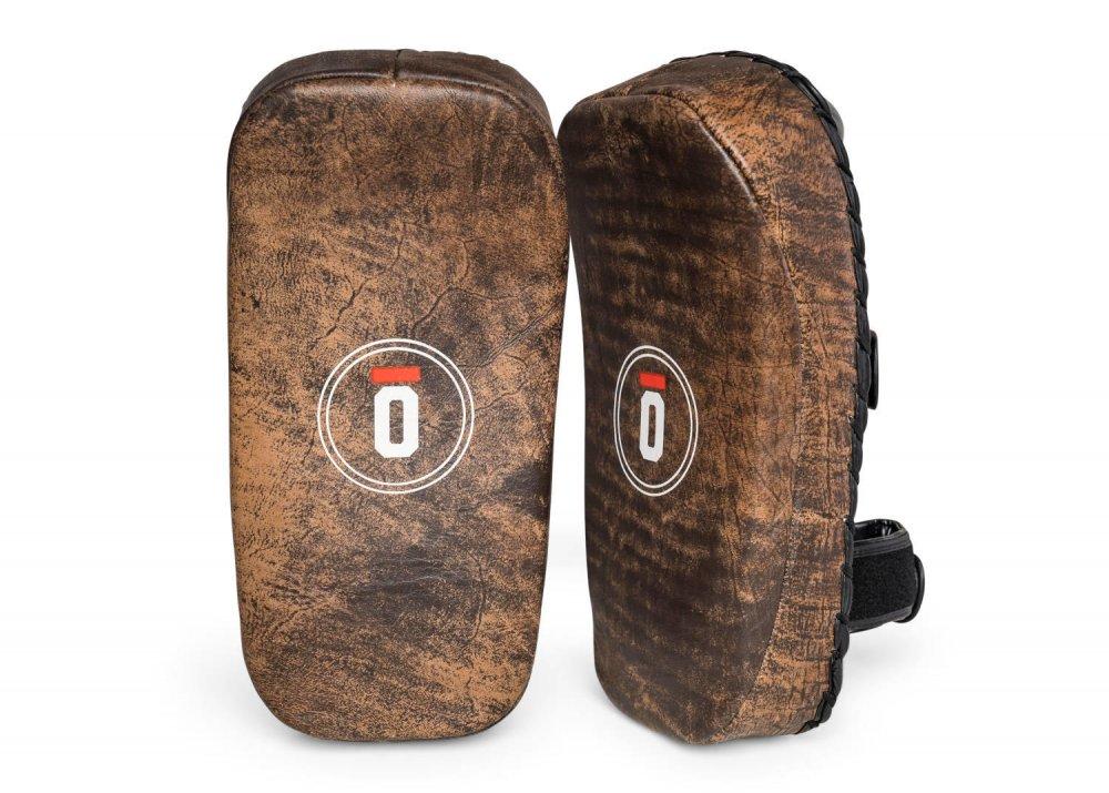 Okami fightgear Leather Thai Pads Impact Pro Curved Vintage