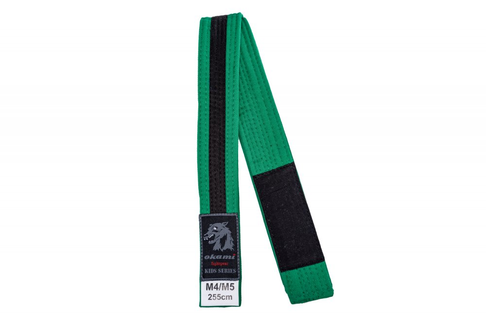 okami Kids BJJ Belt green / black